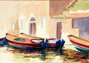Barazsu,Dave-Three Boats On Canal Venice Italy