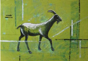 HAPPY GOAT ( Oil On Canvas )