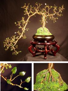 JADE CASCADE  #1 - Wire Tree Sculpture,