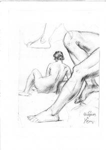 Woman's Back and Legs Pencil Chiaroscuro