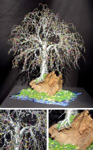 BONSAI ISLAND  No.2  - Beaded Wire Tree Sculpture, by Sal Villano