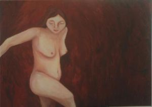 Nude on Burgundy Background