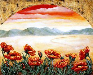 Poppies - Original Flower Painting by Linda Paul