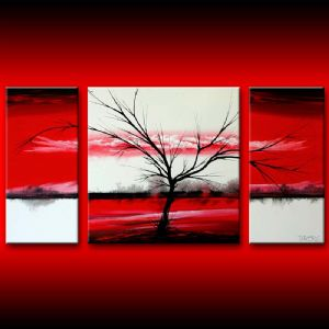 Red white tree canvas wall art