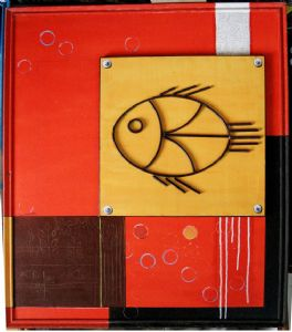 FISH ( Acrylic & Rod Iron on Canvas )