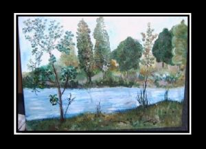 Oil painting on canvas - The lake Campina