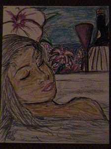 Latin Girl in a Tropical Bath with Lavender Wine