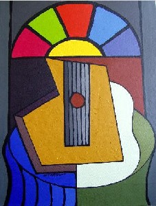 Nature of Guitar with stained glass window