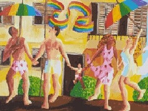 new family queer families lgbt painter raphael perez homosexual lesbian couple acrylic on canvas