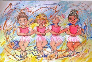ballerinas in pink dress