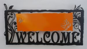 Art Gallery,Joy-A Welcome Sign - Orange by Alla Pikovski