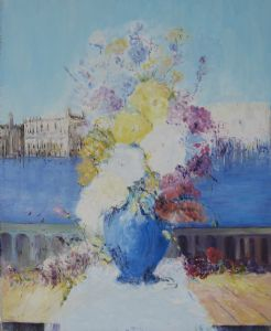 Flower in bloue vase and Venice