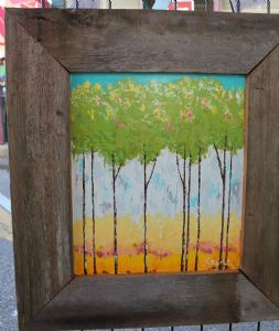 hampton,raina-green trees in cypress frame