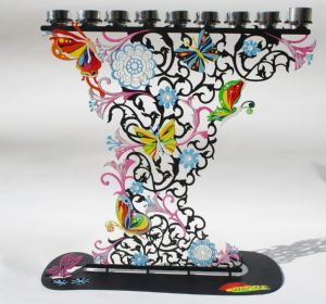 The Flowers & Butterflies Menorah by Alla Pikovski