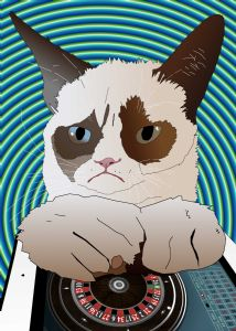 Grumpy Cat playing iPad Roulette