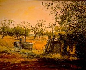 Sicilian country landscape with sink