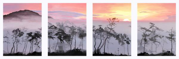 Against the backdrop of the sunset fog. Screen in 4 parts.