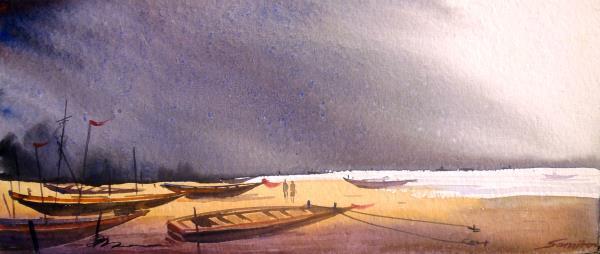 Fishing Boats at Morning Seashore -watercolor painting