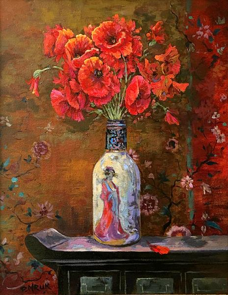 Poppies in a Chinese bottle