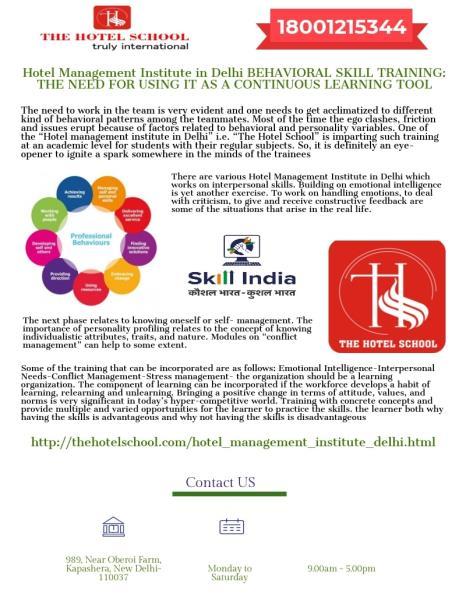 School,The Hotel-Hotel Management Institute in Delhi