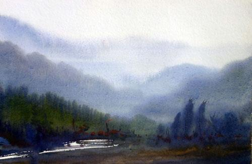 Beauty of Himalaya Landscape -Watercolor on Paper