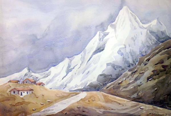 SARKAR,SAMIRAN-Himalayan Peaks-Watercolor on Paper painting