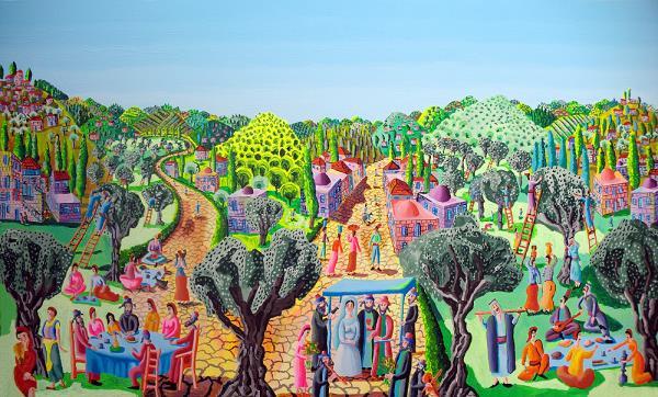 naive art paintings folk artworks painter rphael perez urban landscape painting naife artwork
