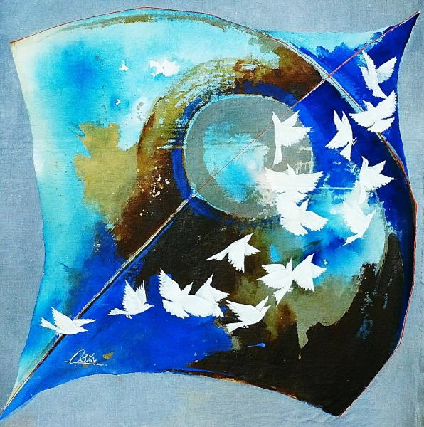 kite and birds blue