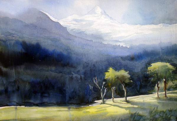 Himalaya Mountain Landscape - Watercolor Painting