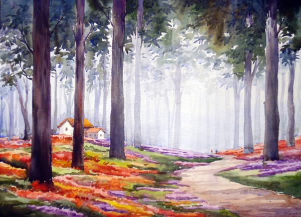 Flower Garden inside a Forest-Watercolor on paper painting