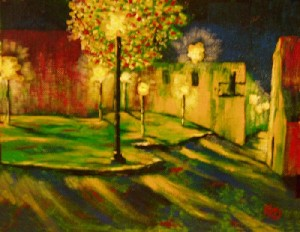 Dyer,Kelly-A Modern Cityscape Night Painting titled