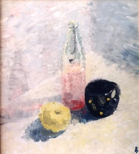 Still life with yellow apple