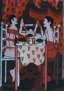 gay family Dinner  queer artworks paintings homosexual family lgbt families raphael perez