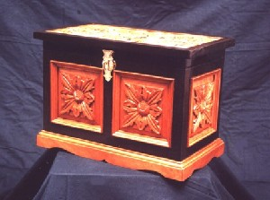BLACK TEMPTATION - Hand Carved & Inlaid Wooden Chest in Solid Wenge & Mahogany Wood