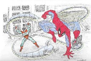 Spiderman vs Dr Octopus original comic art by Penc